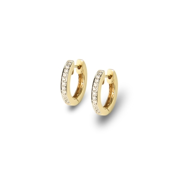 HUGGIE EARRINGS, 14K YELLOW GOLD, BRILLIANT CUT DIAMOND  0,22CT