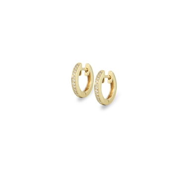 Mini Huggie Earrings 14K Yellow Gold, Brilliant Cut Diamond  0,08CT