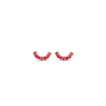 HAPPY EARRINGS 14K YELLOW GOLD WITH PINK SAPPHIRES