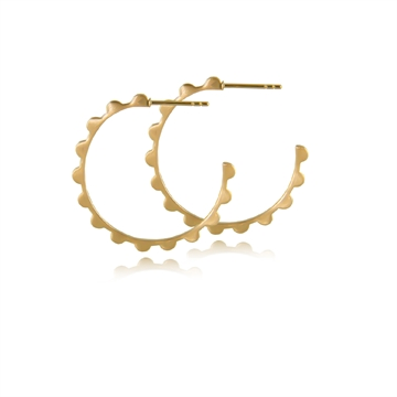 LACE HOOP EARRING -  SATIN GOLD