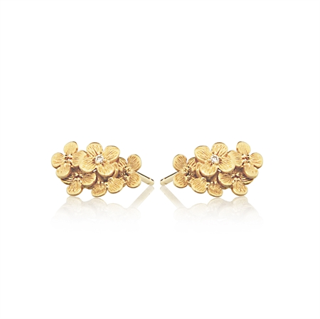 HORTENSIA BLOSSOM EARRING WITH DIAMONDS - GOLD