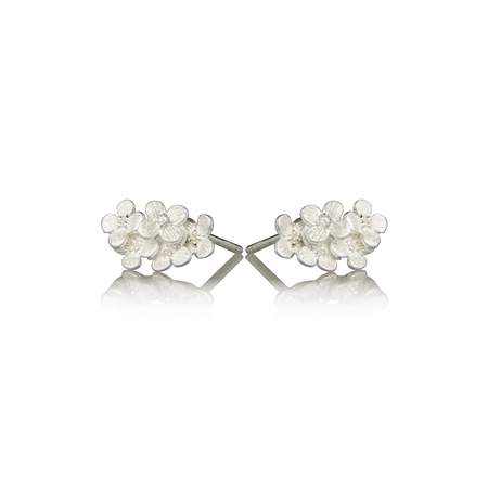 HORTENSIA BLOSSOM EARRING WITH DIAMONDS - SATIN SILVER