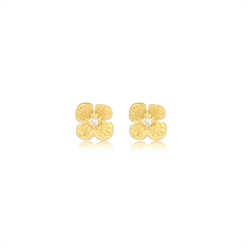 HORTENSIA STUD EARRING WITH DIAMONDS - GOLD