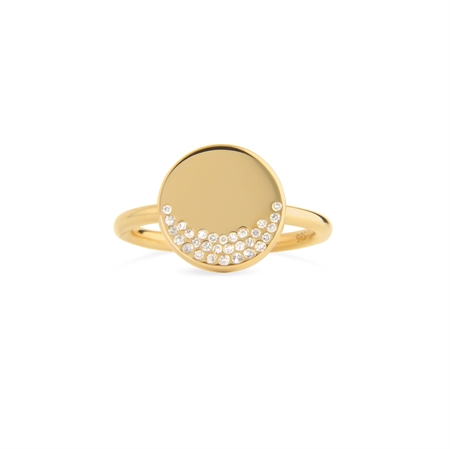 HAPPY  RING 14K GOLD WITH 0,1 CT BRILLIANT CUT DIAMONDS