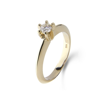 LOVELIEST SOLITAIRE RING  14K GOLD 0,09 CT. DIAMOND