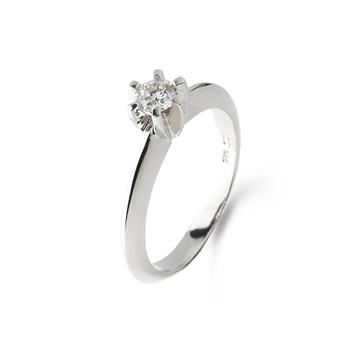 LOVELIEST SOLITAIRE RING  14K WHITE GOLD 0,09 CT. DIAMOND
