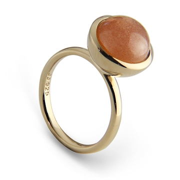 LARGE CABOCHON STACK RING - PEACH MOON STONE - GOLD