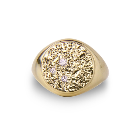 Piece of the moon ring  - signet ring gold plated