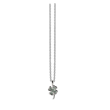 Necklace with clover - green zirconia
